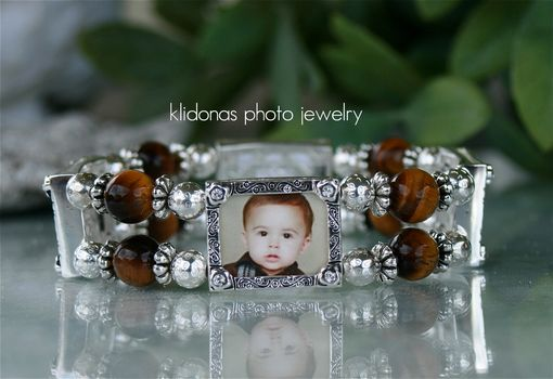 Custom Made Four-Frame Photo Bracelet With Tiger's Eye Gemstones And Silver Rounds