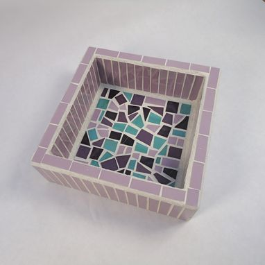 Custom Made Small Purple And Turquoise Mosaic Office Desk Organizer