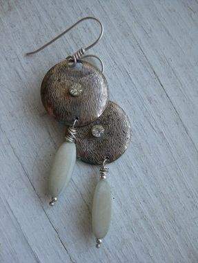 Custom Made Deco Brass Earrings With Soapstone Beads