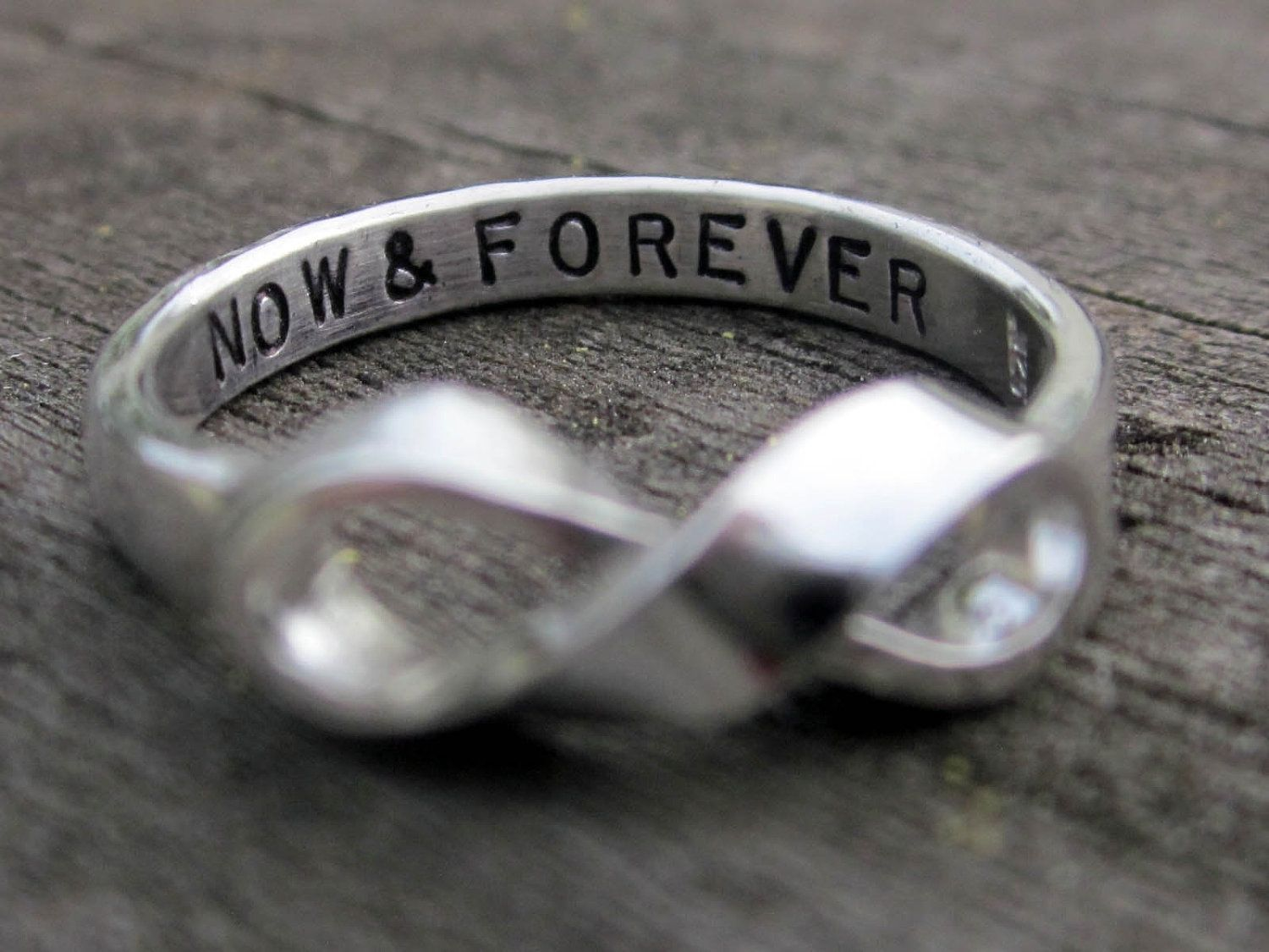 Handmade infinity ring with custom message by donna okino for Infinity ring jewelry store