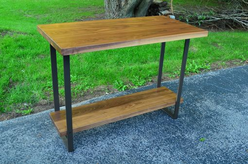 Custom Made Walnut And Steel Counter Height Table