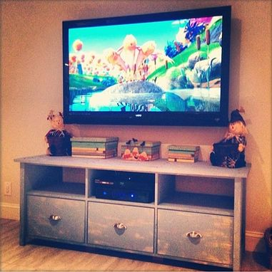 Custom Made Rustic Tv Console Stand W/ Drawers // 3 Console Tv Stand // Rustic Tv Stand