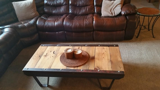 Custom Made Barn Wood Industrial Rustic Coffee Table Made From 1930s Iron Railroad Pallet