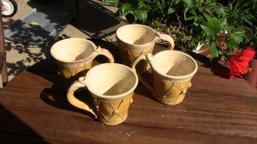 Custom Made Golden Yellow Set Of 4 Mugs