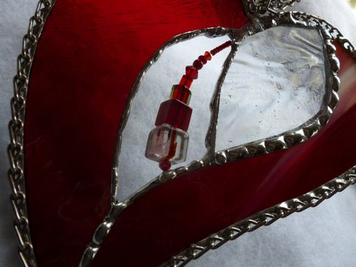 Custom Made Cranberry Red Stained Glass Heart With Beads And Crystals