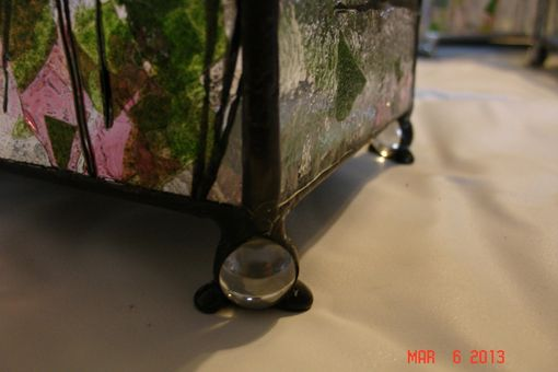 Custom Made Deep Red And Green Fractured Glass With Marbled Feet - Stained Glass Jewelry Box