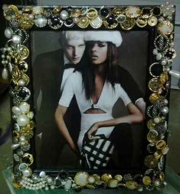 Custom Made Vintage Wedding Picture Frame With Vintage Jewelry And Buttons