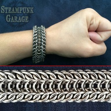 Custom Made Bracelet - Steel Alligator Back - Chainmaille Cuff
