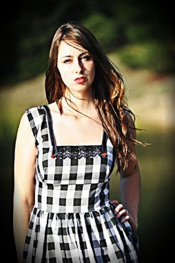 Custom Made Pinup Dress, 1950s Vargas Girls Inspired Fall Black And White Gingham Dress With Red Roses