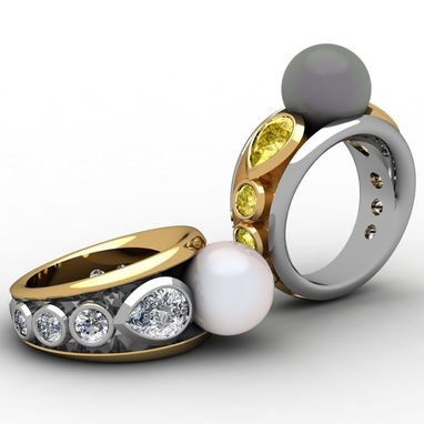 Custom Made Pearl And Diamond Ring