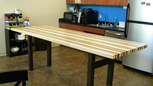 Custom Maple And Walnut Breakroom Counter Height Table By
