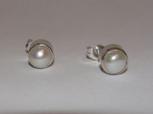 Custom Made Sterling Silver  Pearl Cabochon Bezel Set Earrings Birthstone June
