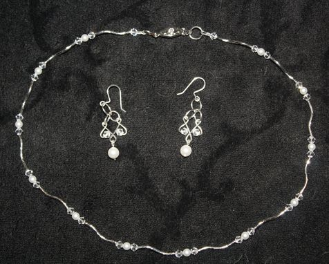 Custom Made Bridal Set In Silver, Swarovski Crystal And Pearl