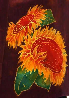 Custom Made Hand Painted Silk Scarf Sunflowers On A Wine Background