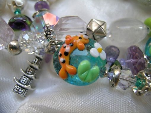 "Custom Made ""Koi Pond, Origami Day"" One-Of-A-Kind Artisan Lampwork & Gemstone Luxe Braclet"