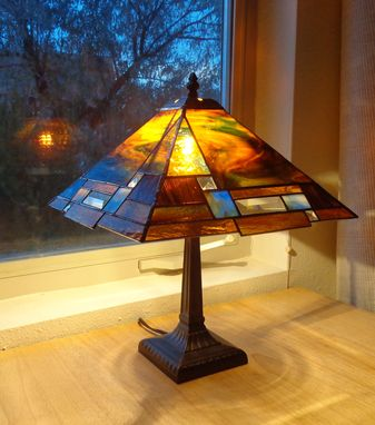 Custom Made Prairie Style Stained Glass Lamp