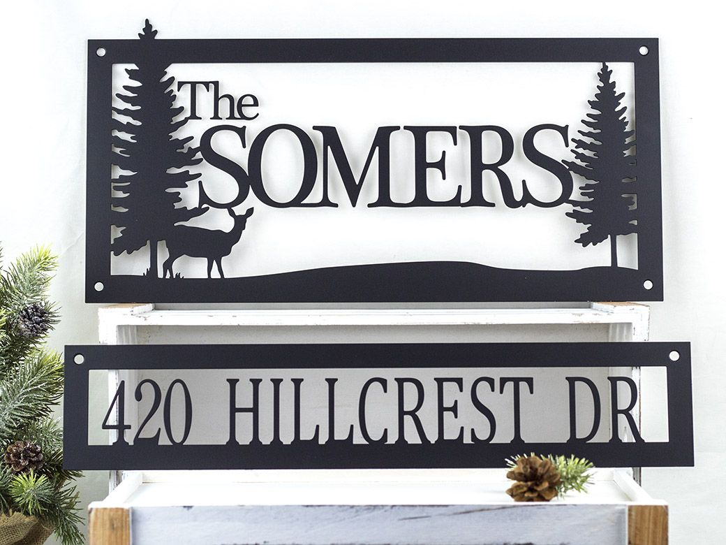 Buy Hand Crafted Custom Family Name Address Metal Sign