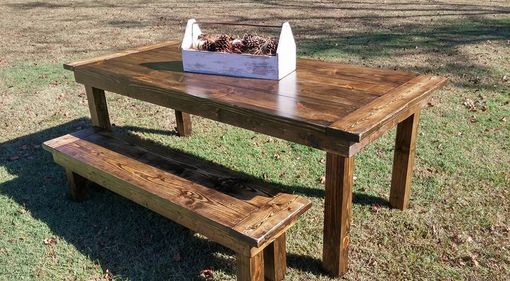 Custom Made Beautiful Farmhouse Dining Table And Bench