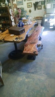 Custom Made Sinker Cypress Table And Bench Steampunk, Industrial