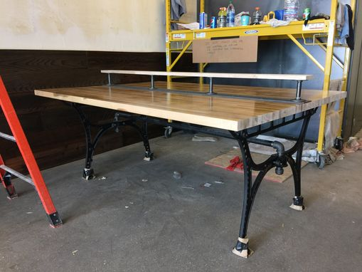 Custom Made 6 Person Dining Table With A Vintage Cast Iron Base And Butcher Block Top