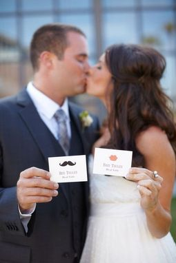Custom Made Custom Wedding Place Cards, Mustache And Lips Design, Personalized Escort Card