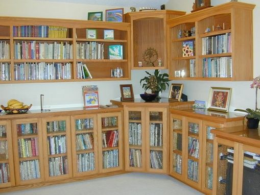Custom Made Natural Oak Bookcase With Glass Doors And Top