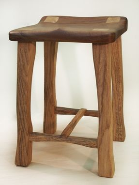 Custom Made The Stool - Backless In Walnut & Oak