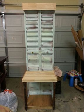 Custom Made Shutter Foyer Table With Light