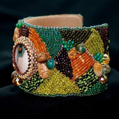 Custom Made Ocean Jasper Handmade Bead Embroidered Cuff Bracelet