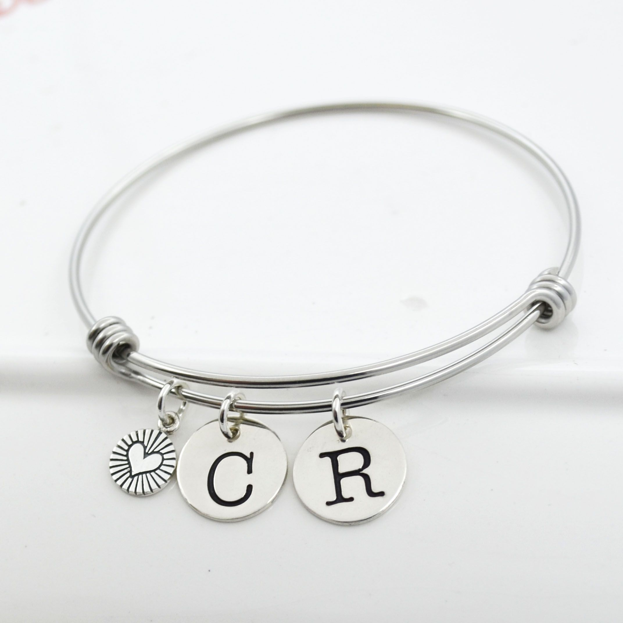 Buy A Hand Crafted Initial Bangle Charm Bracelet Couples Initial