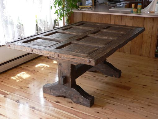 Custom Made Southwest Distressed Dining Room Table, With Glass Top