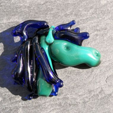 Custom Made Glass Horse Head Pendant Bead Teal Turquoise Colbalt Blue