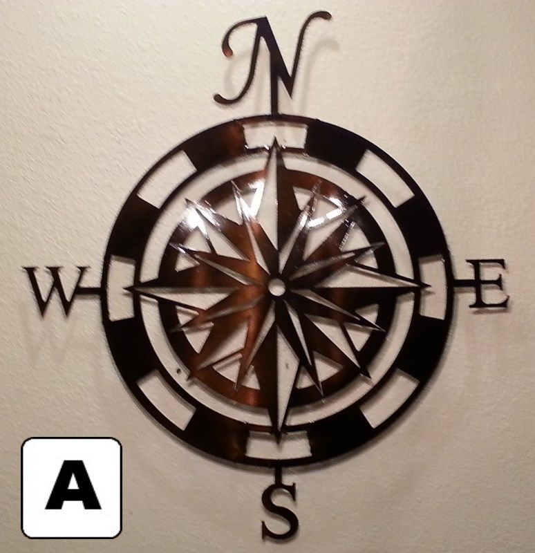 Custom Made Compass Rose Metal Wall Art Home Decor