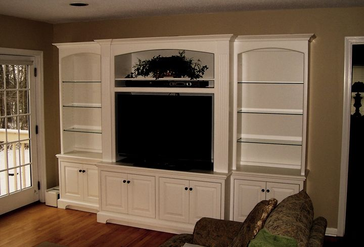 Hand crafted built in wall unit for widescreen tv in for Built in wall units