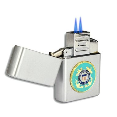 Custom Made Double Flame Butane Torch Lighter With Military Emblem
