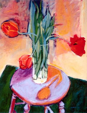 Custom Made Painting:  Red Tulips, By Maggie Schmidt