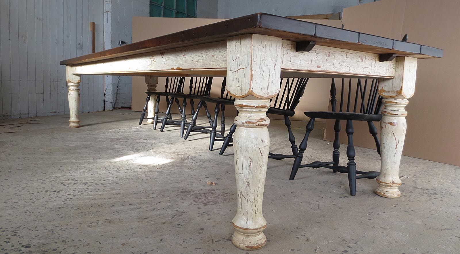 Hand Crafted 12 Pine Farm Table With Crackle Finish By