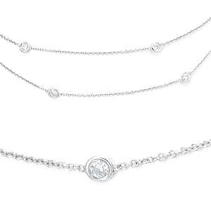 Custom Made Diamond By The Yard Necklace In 14k White Gold
