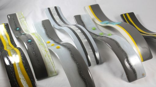 Custom Made Fused Glass Waves Sculpture In Set Of 7
