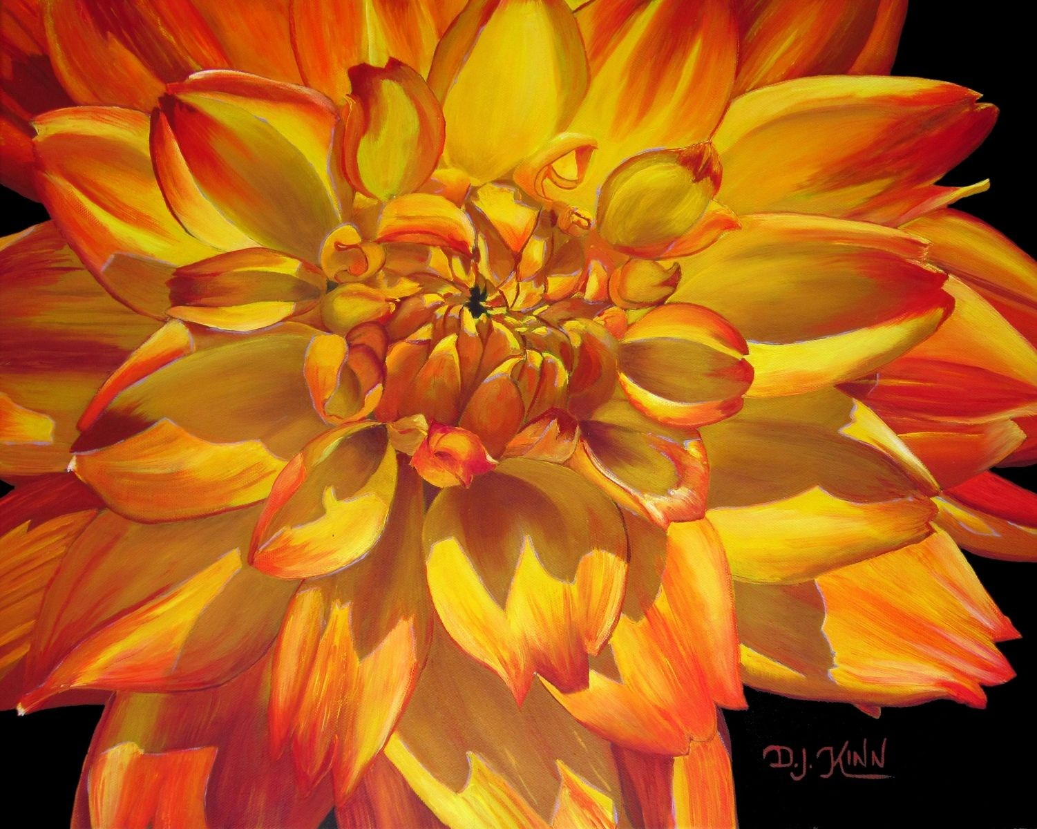Buy A Custom Yellow Orange Variegated Dahlia Oil Painting Made