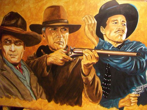 Custom Made Acrylic On Board Portrait For A Mural: Cowboys 12