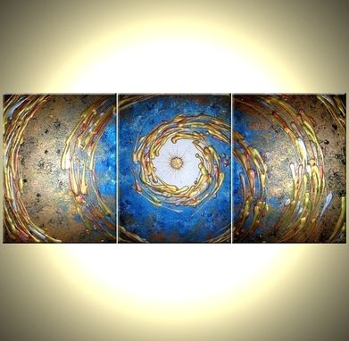 Custom Made Abstact Blue Gold Original Art, Metallic Painting, By Dan Lafferty - 54x24 - Sale 22% Off