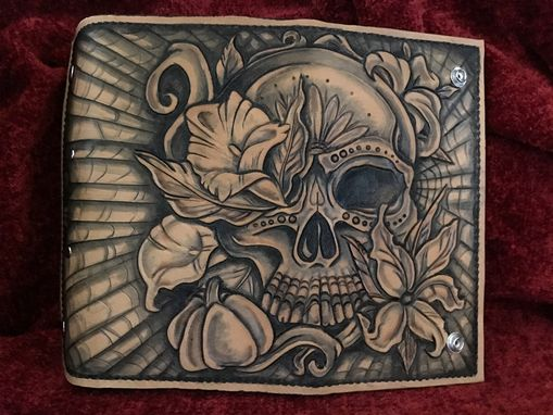 Custom Made Ladies Leather Sugar Skull Clutch Wallet