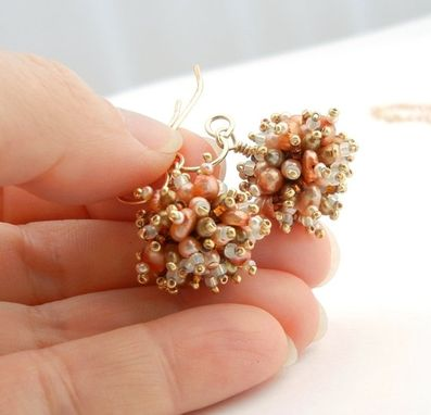 Custom Made Pearl Sea Anemones Earrings And Pendant Necklace
