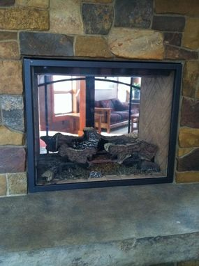 Custom Made Custom Fireplace Screen For See-Through Gas Fireplace-Tiede Project