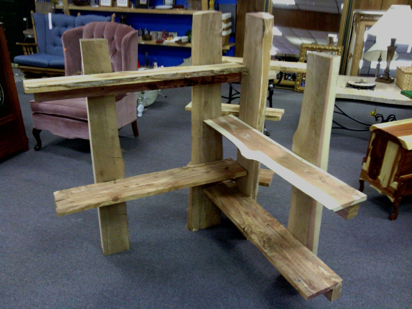 Hand Crafted Rustic Wooden Display Shelves By The Stockton