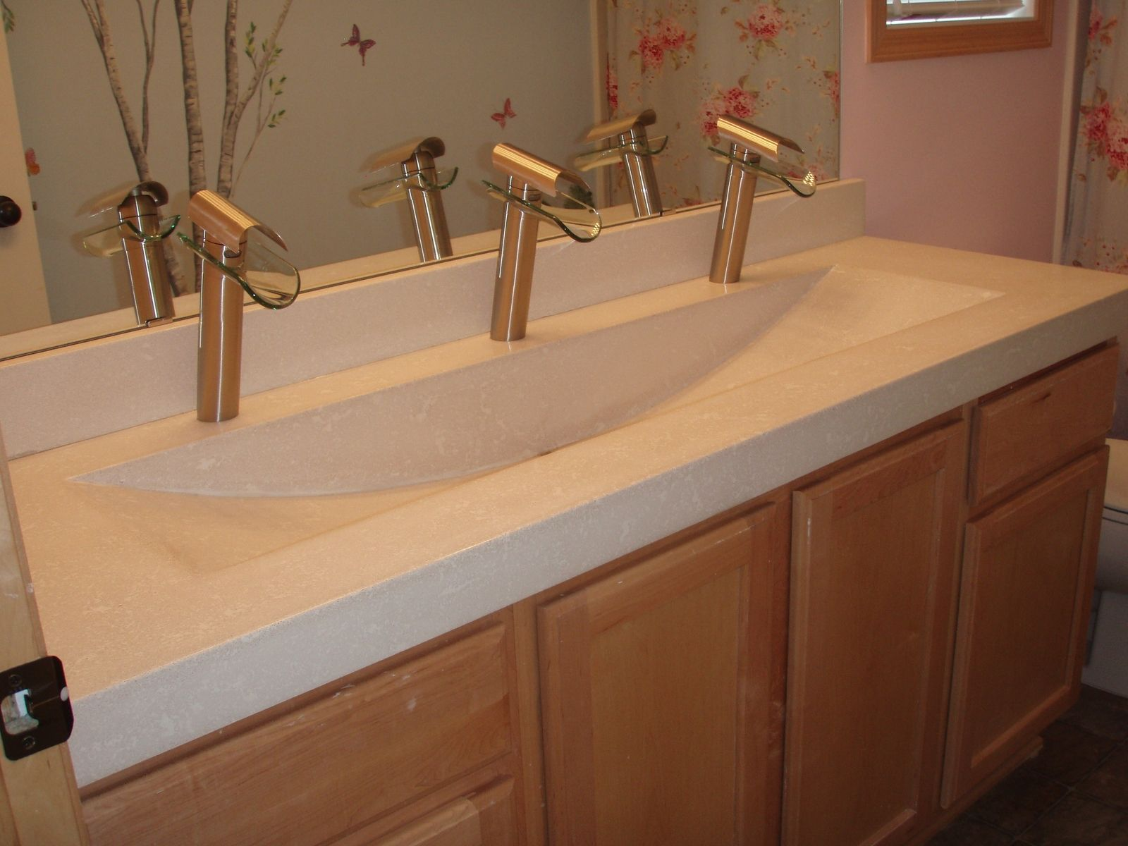 Custom Concrete Sink Accommodating 3 Faucets And 1 Drain