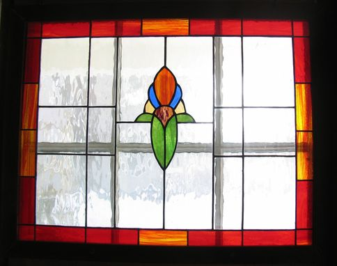 Custom Made Stained Glass Panel With Oxidized Steel Frame