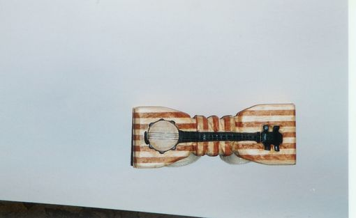 Custom Made Musical Bow Tie - Banjo - Striped Wood
