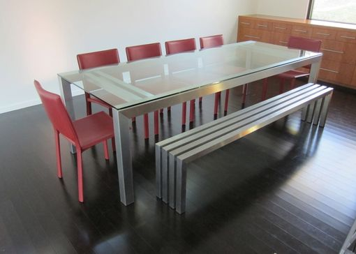 Custom Made Simpl Stainless Steel And Glass Dining Table